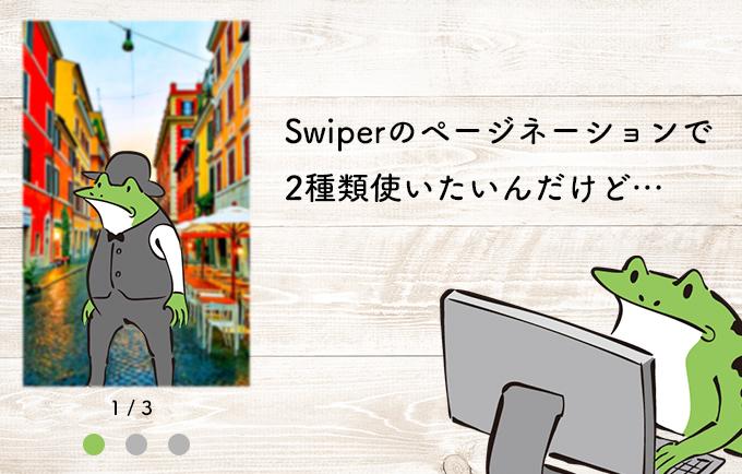 Swiperのページネーションで2種類使いたいんだけど…